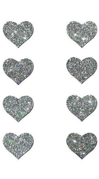 Mini Silver Glitter Heart Pasties - Silver