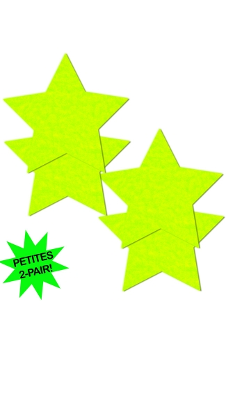 Small Neon Yellow Star Pasties, Neon Yellow Star Pasties, Hot Yellow Pasties