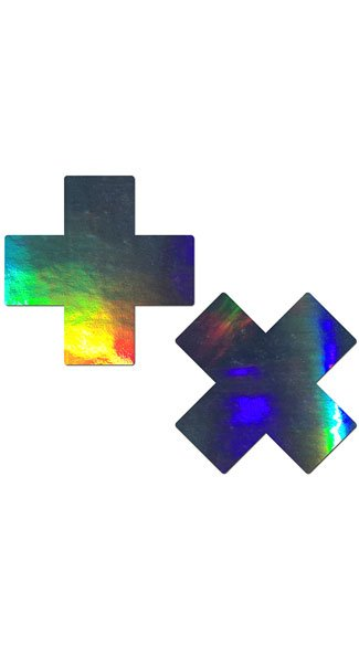 Holographic Cross Pasties - Silver