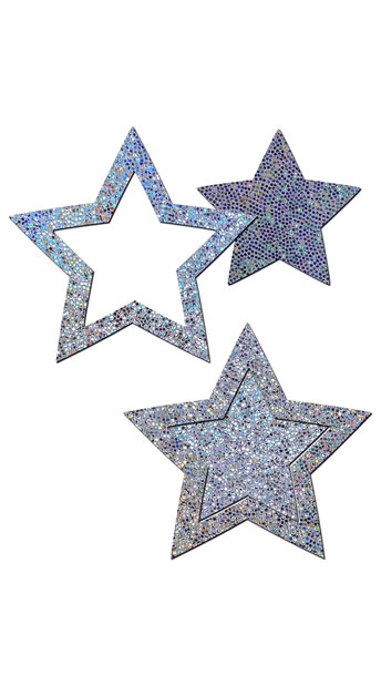 Silver Glitter Cut-Out Star Pasties, Silver Star Pasties, Glitter Star Pasties