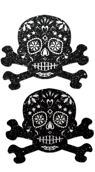 Glitter Skull Candy Pastease  - Black/White