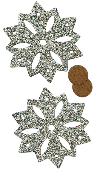 Silver Glitter Snowflakes with Nipple Guards, Snowflake Pasties, Glitter Snow Pasties