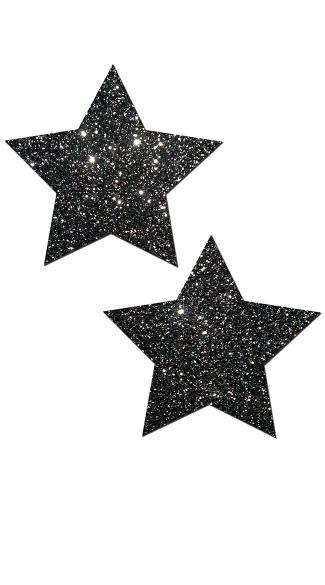Sexy Rockstar Glitter Pasties - Black Glitter