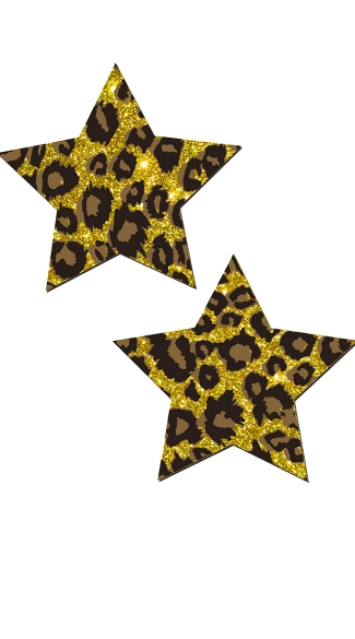 Glittery Star Cheetah Pasties  - Gold Cheetah