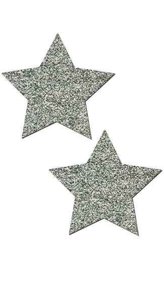 Silver Glitter Star Pasties - Silver