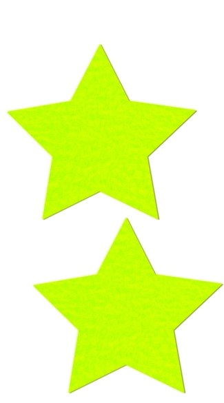 Neon Yellow Day Glow Star Pasties, Hot Yellow Star Pasties, Day Glow Pasties