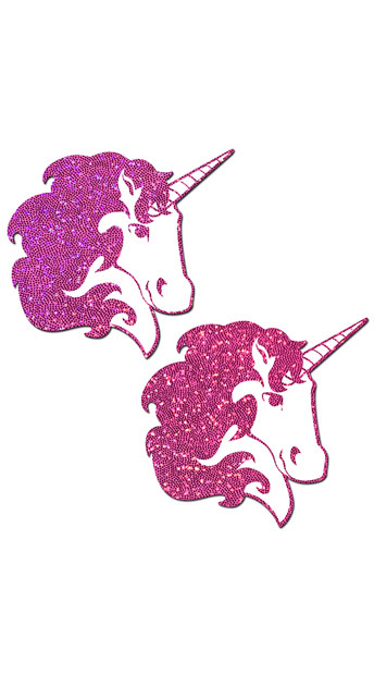 Hot Pink Glittering Unicorn Pasties - Pink