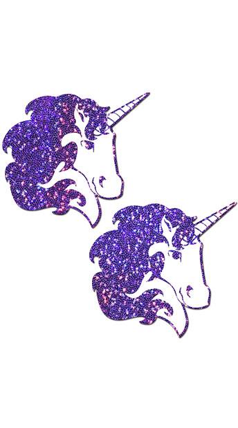 Purple Glitter Unicorn Pasties - Purple