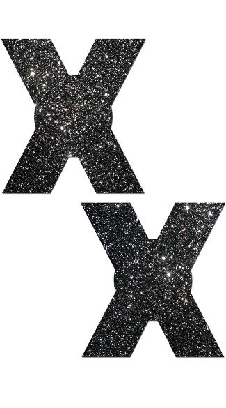 X-Rated Glitter Nipple Pasties - Black Glitter