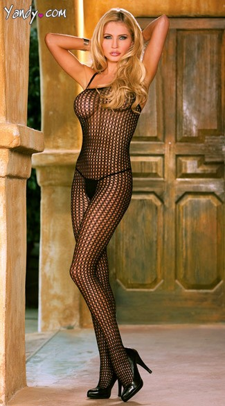 Plus Size Crochet Bodystocking - Black