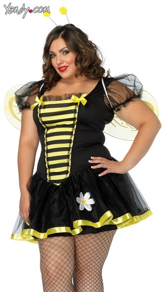 Plus Size Daisy Bee Costume, Plus Size Adult Bumble Bee Costume, Plus Size Adult Queen Bee Costume