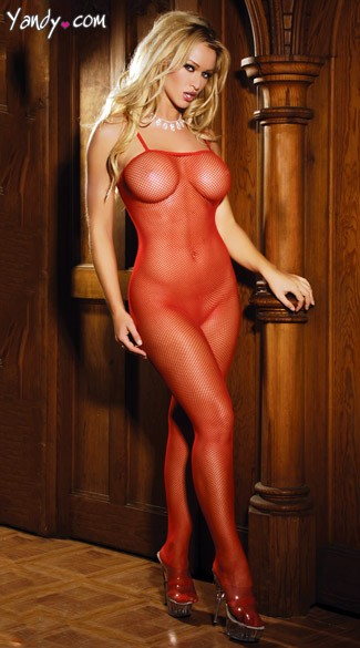 Plus Size Fishnet Bodystocking - Red