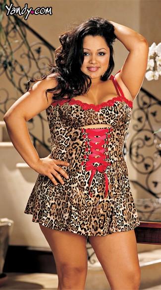 Plus Size Lace Trim Sexy Chemise - Natural Leopard