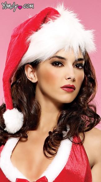 Plush And Velvet Santa Hat - Red/White