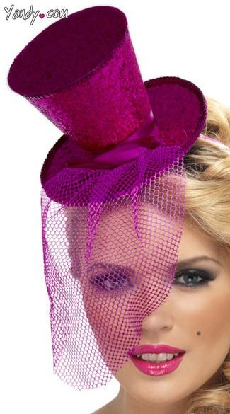 Purple Glitter Top Hat - Purple