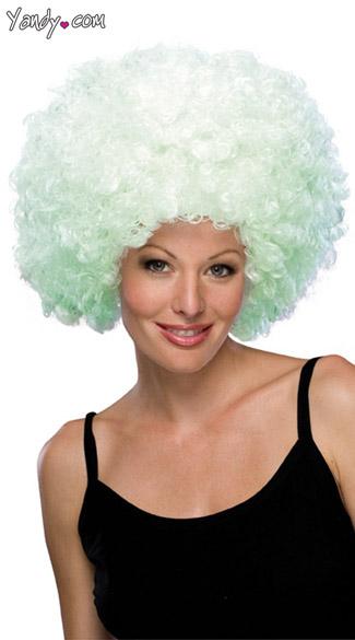 Black Light  Afro Wig - White