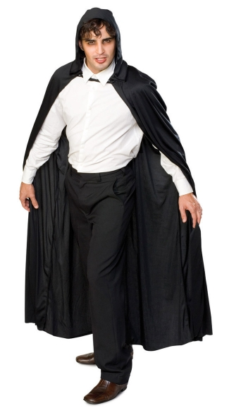 Long Hooded Cape - Black