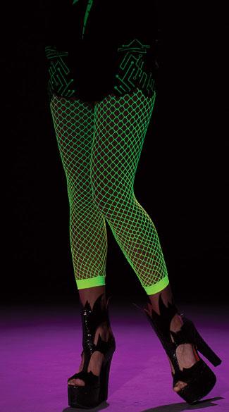 Green Fishnet Stockings - Green