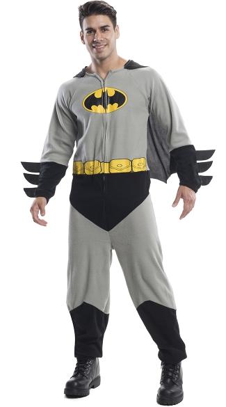 Men's Batman Onesie Costume - As Shown