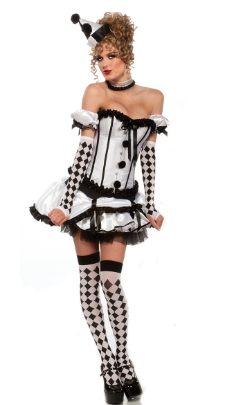 Harlequin Honey Costume, Sexy Black and White Harlequin Dress and Hat Costume, Harlequin Dress Hat Gloves and Collar