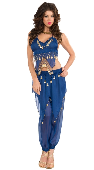 Blue Belly Dancer Costume, Adult Belly Dancer Costume