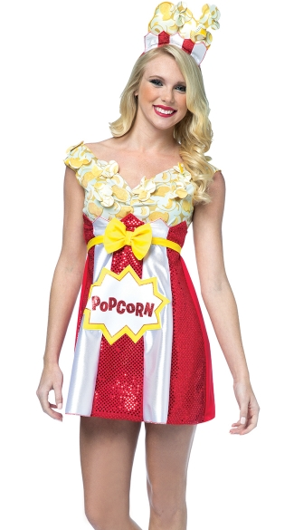 Movie Popcorn Dress Costume  sc 1 st  Yandy & Movie Popcorn Dress Costume Sequin Red Popcorn Dress White Popcorn ...