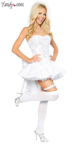 Fantasy bride costume womens bride costume sexy bride for Sexy wedding dress costume
