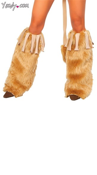 Courageous Lioness Leg Warmers, Brown Faux Fur Legwarmers