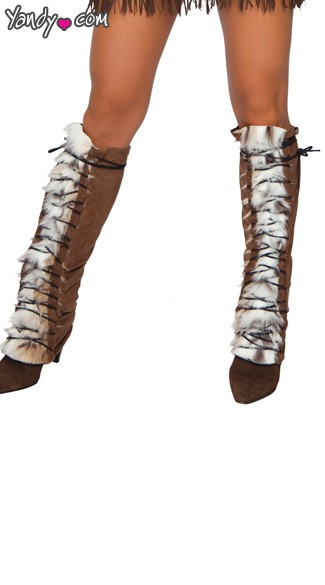 Suede Costume Leg Warmers, Suede and Fur Leg Warmers, Fur and Suede Leg Warmers