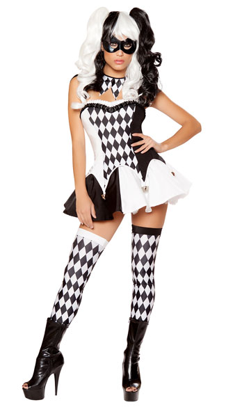 Devious Jester Costume, Black and White Clown Costume, Sexy Harlequin Costume