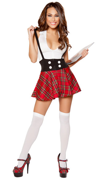 Teasing Schoolgirl Costume, Red Schoolgirl Costume, Sexy -7348