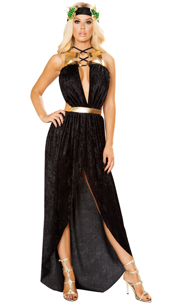 Glowing Greek Goddess Costume - Black/Gold