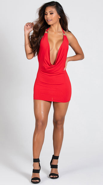 O Ring Cowl Neck Dress - Red