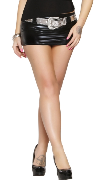 Mini Metallic Skirt With Large Silver Belt, Mini Skirts -8532