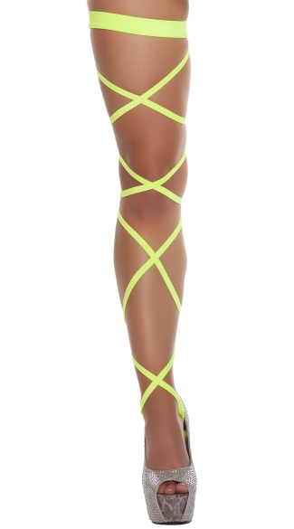 Solid Leg Strap with Attached Garter - Yellow