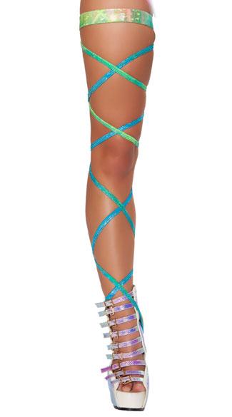 Sparkling Iridescent Leg Wraps - as shown