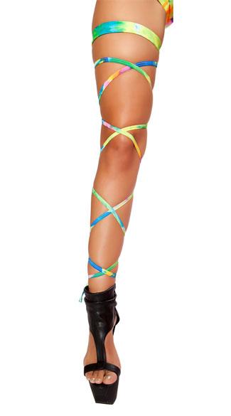 Tie Dye Rainbow Leg Wraps - as shown