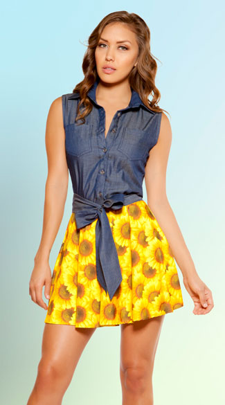 Denim Sunflower Mini Dress, Blue and Yellow Dress, Sunflower Dress