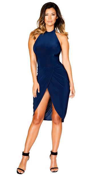 Blue Velvet Sash Dress, Blue Halter Dress - Yandy.com