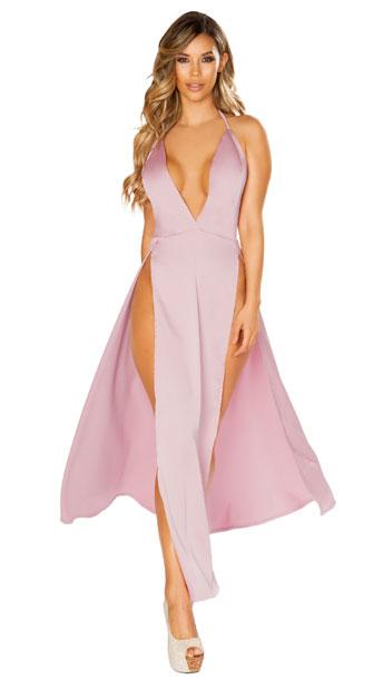 Satin Elegance Pink Dress - Pink