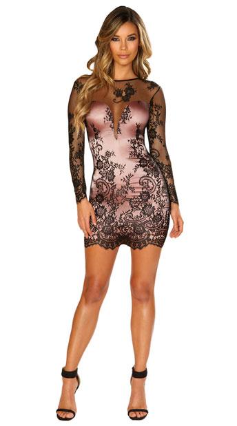 Fantasies Fulfilled Mini Dress - Black/Pink