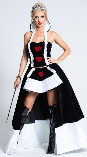 Enchanting Queen of Hearts Costume - Black/Red/White