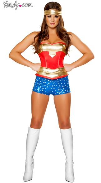 Heroine Hottie Costume, Womens Super Hero Costume, Woman Superhero Halloween Costume