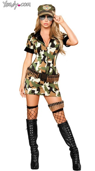 Militia Babe Costume, Camouflage Dress Costume, Adult Army Girl Costume, Army Girl Halloween Costume