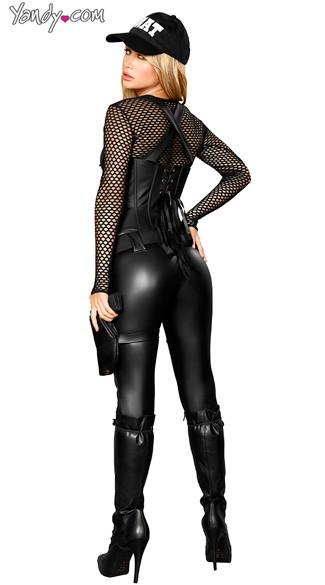 Deluxe Sexy SWAT Agent Costume - Black