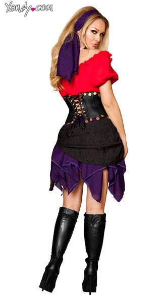 Deluxe Seductive Gypsy Costume - Red/Black/Purple