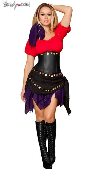 Deluxe Seductive Gypsy Costume, Adult Gypsy Girl Costume, Mystic Gypsy Costume