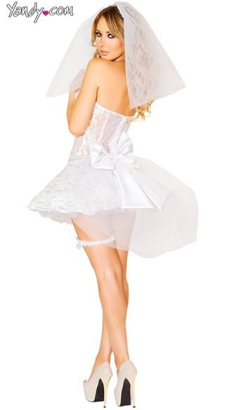White Lace Bride Costume - As Shown