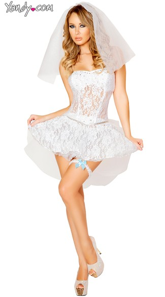 White Lace Bride Costume, Adult Bride Costume, Sexy Newlywed Costume