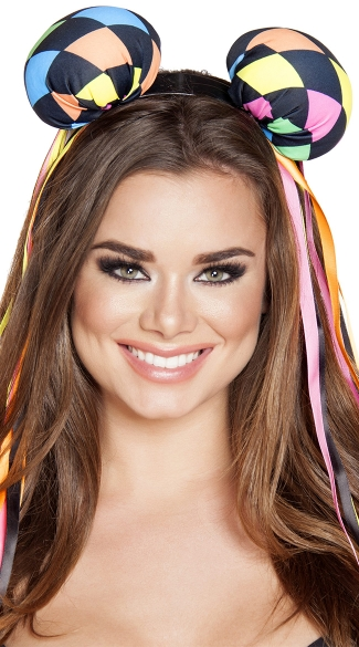 Multi-Colored Diamond Head Piece with Ribbons, Costume Ears, Costume Headband